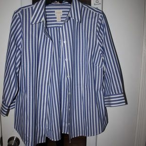 White and Blue Stripped Button Up Shirt